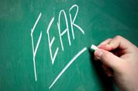 The word 'fear' written on the chalkboard!