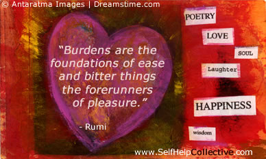 Happiness poems - words of rumi, and image of heart