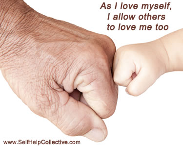 Positive affirmations image - old hand touching young hand