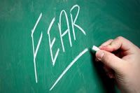 The word 'fear' written on the chalkboard!