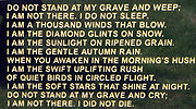 Inspirational poems - do not stand at my grave and weep